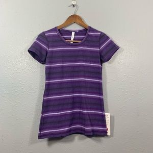 LULULEMON NEW Lively Crewneck Purple Stripe Tee 6